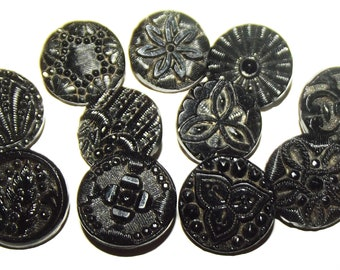Antique Buttons ~ 10 Fabulous Small Victorian Black Glass Buttons ~ Lacy Black Glass Buttons
