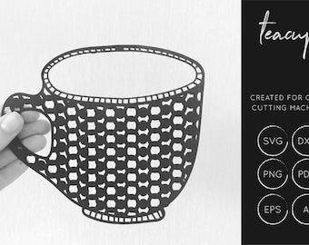 Tea Cup SVG, Tea Cup DXF