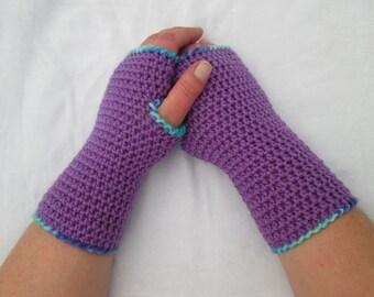 Adult purple arm warmers, wrist warmers ~ 100% wool ~ crocheted handmade armwarmers, wristwarmers, fingerless gloves