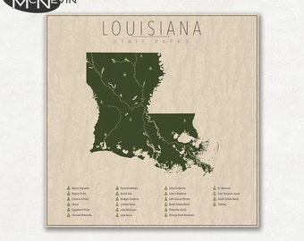 LOUISIANA PARKS, State Park Map, Fine Art Photographic Print for the home decor.