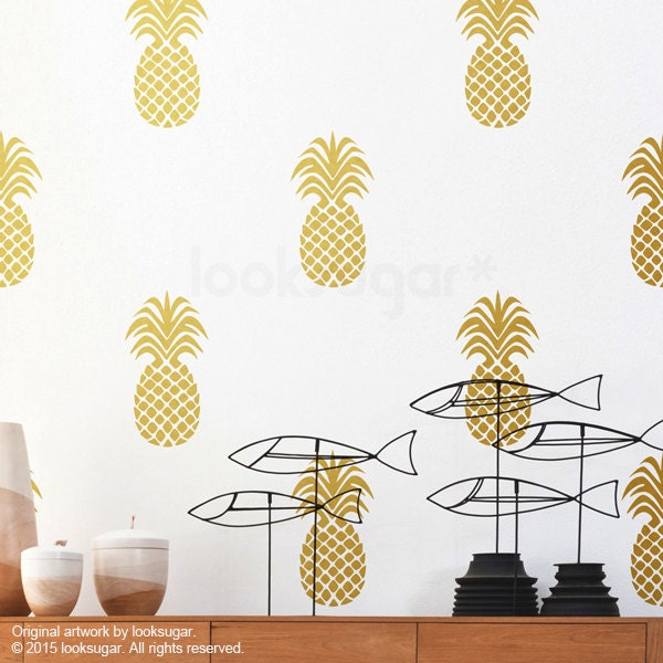 Large Pineapple Wall Decal Gold With