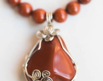 Red Jasper Wire Wrapped Pendant Necklace