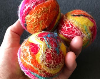 3 JUGGLING BALLS All Weighted interior, body size of 2.5 inches -  felt wool with silk infusion