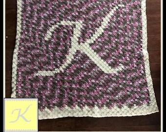 Letter K Baby Blanket - Crochet Pattern - C2C Graph