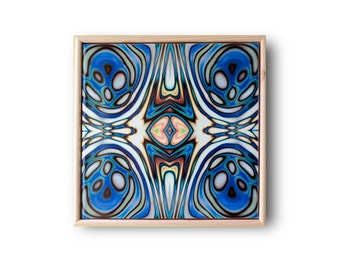 Ceramic Tile Art - Abstract wall art, Art Nouveau style, Blue pattern tile, Framed wall art, Ceramic wall art, Pattern tile, Tile wall decor
