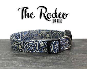 Western Dog Collar, Blue Paisley Collars, Paisley Collar for Dogs, Blue Dog Collars, Girl Dog Collars, Boy Dog Collars, Cowboy Dog Collar