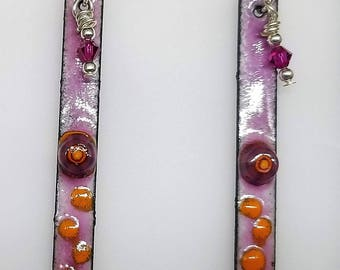 Handmade Enameled Earrings - Sterling Silver ear wires, Swarovski, Pink/Orange