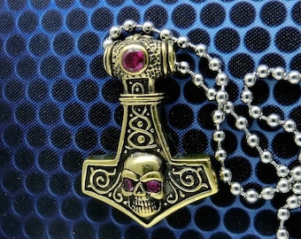 Brass Skull Thor's Hammer Pendant Necklace,  Free Shipping