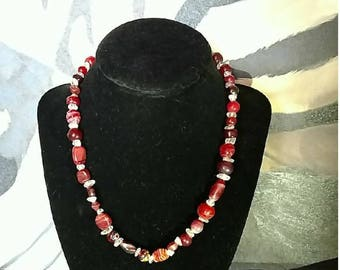 Red glass beaded