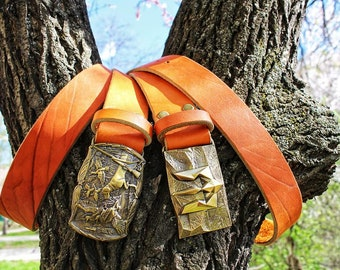 Mens leather belt handmade belt brown belt  trident buckle hunting buckle hunting belt present belt casual belt light brown belt