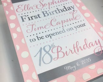 1st Birthday Time Capusule Keepsake box - CUSTOM Designed for Girls- Pink and Silver