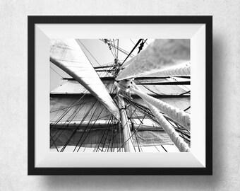 Sailing Ship Print, Sailing Ship Posters, Rigging Photography, Black And White Wall Art, Sailboat Art, Modern Decor, Coastal Wall Decor