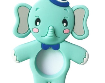 Mint green silicone elephant teether