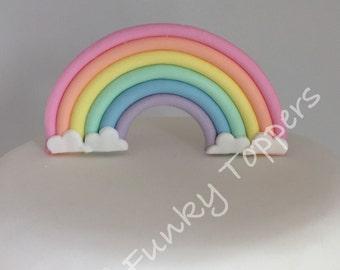 Edible Pastel Rainbow Fondant Sugar Cake Decorations Stand-up Birthday Christening