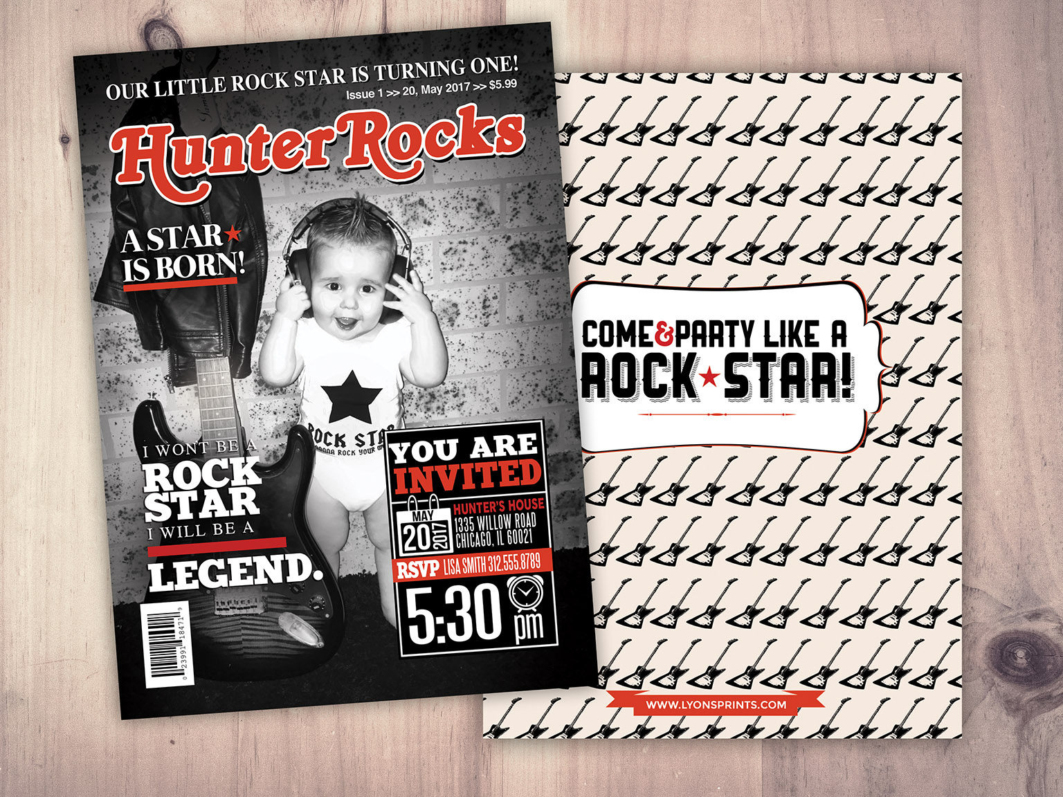 Rock Star magazine theme birthday invitation, boy birthday, rockstar ...