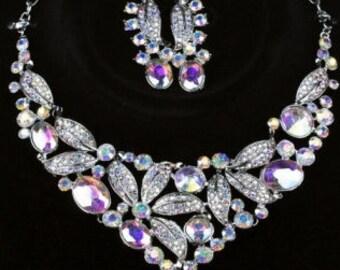 Large AB Aurora Borealis rainbow crystal Rhinestone Diamante vintage style necklace and earrings set Purple Flowers Art Deco Boho