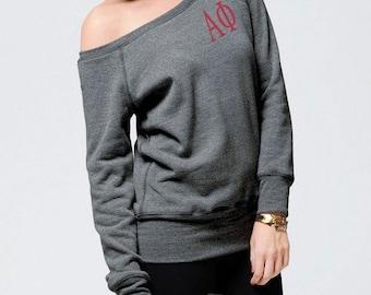 Alpha Phi Sweatshirt, Monogrammed Pullover, Monogrammed Off Shoulder Sweatshirt, Wide Neck Sweatshirt, Alpha Phi Pullover,