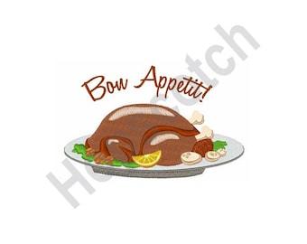Bon Appetit - Machine Embroidery Design, Turkey, Thanksgiving, Turkey Dinner