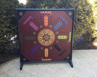 "25"", Aggravation, Game Board, Wood, Hand Painted, Wooden, Primitive, Folk Art, Board Game, Marbles, Frustration, Marble Game, Wooden"