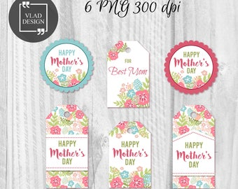Printable Mother's Day Gift Tags Mother's Tags Mother's Day labels Instant download DIY Flowers Tags Holiday tags Gift for Mom Badges
