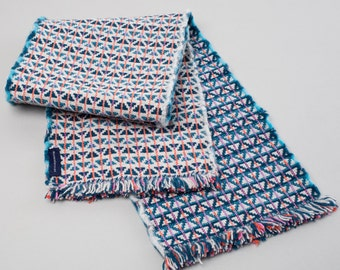 Teal, Grey & Turquoise Handwoven Lambswool Scarf - Geometric Triangle Design