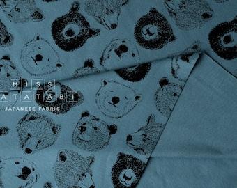 Japanese Fabric Kokka Trefle Bears knit - blue - 50cm