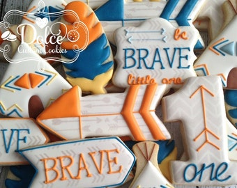Boho Arrow Teepee Feather Birthday First Birthday Be Brave Little One Cookies