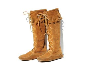 Vintage Brown Suede Moccasin Tall Boots / size 9
