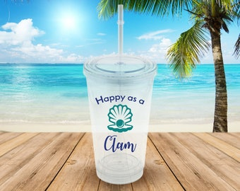 Happy As A Clam Water Bottle with Straw