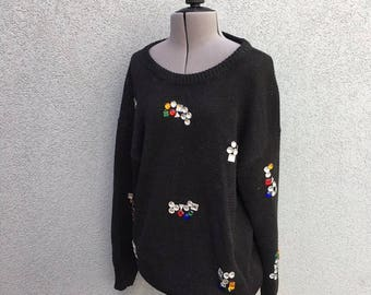 Vintage Black 80s Multicolor Geometric Gem Sweater, Rhinestone Knit Pullover