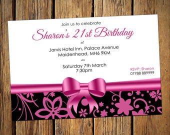 All Ages Birthday Personalised Party Invitations Pink Bow