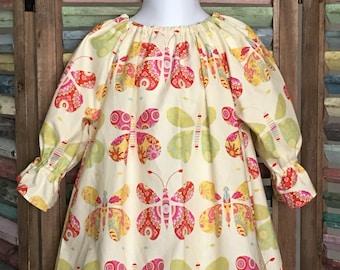 Girls peasant dress, Girls Easter dress, Girls butterfly dress, Girls Birthday dress,  Size 2T girls dress, Girls summer dress, #154