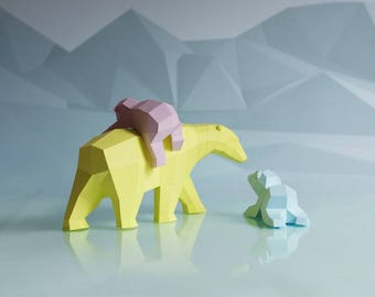 Paperwolf Polar Bear Family papercraft kit, Set with 3 bears, polygonal geometric design piece, paper sculpture climate change awareness