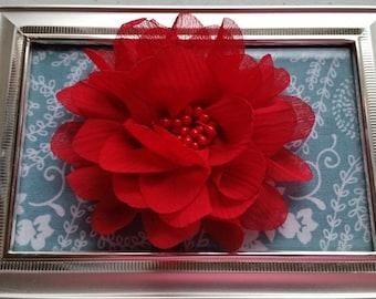 "4"" Red Chiffon Flower with Beaded Center- Hair Flower-Christmas Flower"