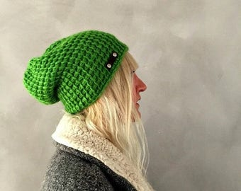 Sale Slouchy Hat, Bright Green Kelly Green Beanie, Womens Winter Hat, Gift for her, Womens Gift, Christmas Gift, Green Slouchy Beanie Winter