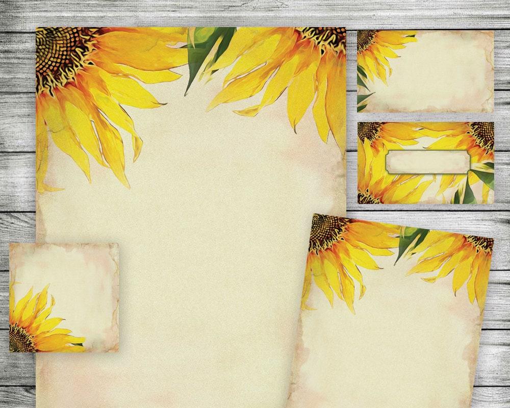 Printable Sunflower Papers Use as Wedding Invitation Kit