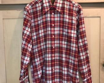 Mens Vintage Shirt - Red Plaid Button Up - Western Shirt - Mens Medium - Mens Long Sleeve Shirt - Burning Man Men - 1970s Clothing Men