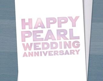 Happy Pearl Wedding Anniversary / 30 years married / 30th wedding anniversary / Typography / Typographical