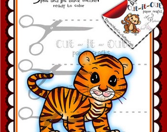 Tiger Digital Stamp, Tiger Cub Digi, Zoo Animals, Line Art, Coloring Pages, Scrapbooking Printable, Digi Stamp