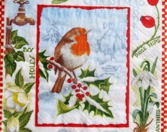 TOWEL in paper Robin on Holly #AN016