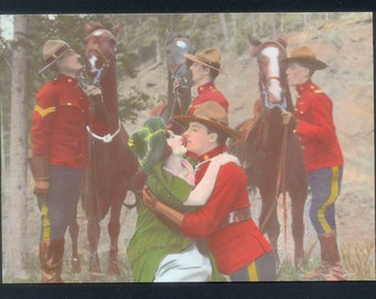 Two Satirical Mounted Police Cards from Canada - Collage, Mixed Media, Altered Books, Greeting Cards