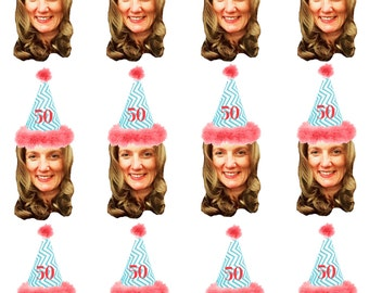 DIY digital Photo cupcake toppers. Chevron hat