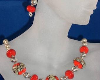 Red & Raku Lampwork, Pearl, Sterling Silver Necklace, Earrings