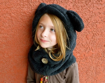 Fleece Hat Sewing Pattern - Hoodie Cowl Winter Hat PDF Instant Download