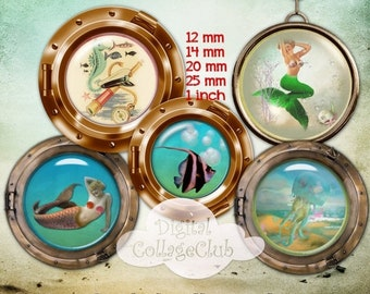80% off Mothers Day Sale Seaside and Mermaids Digital Collage Sheet 12 mm, 14 mm, 20 mm, 25 mm 1 Inch Round Circle Digital Images for Bottle