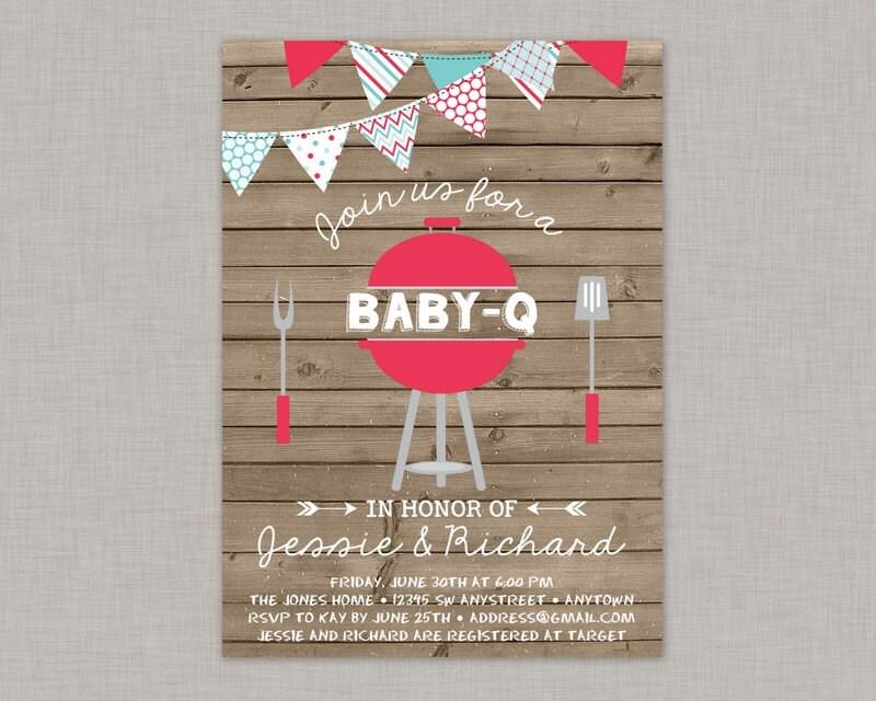 BBQ Baby Shower Invitation Baby Q Invitation Coed Baby