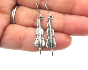 Little Violin Earrings, Sterling Silver Ox or Brass Finish, Small Violin Dangle Earrings, Violin Gifts