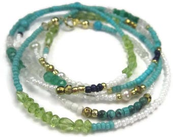 Turquoise Beaded Wrap Bracelet or Long BoHo Gemstone Necklace in Blue Green Gold