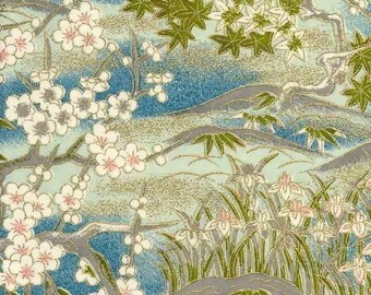 Chiyogami or yuzen paper - aqua garden with mountains, 9x12 inches