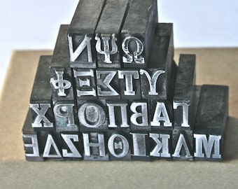 Choose Your Own Greek Letterpress Type Letters for Printing Stamping and Decor